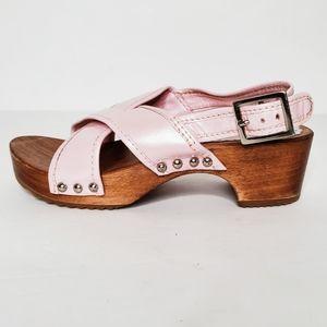 Hanna Andersson Pink Leather Wood Slingbacks 32